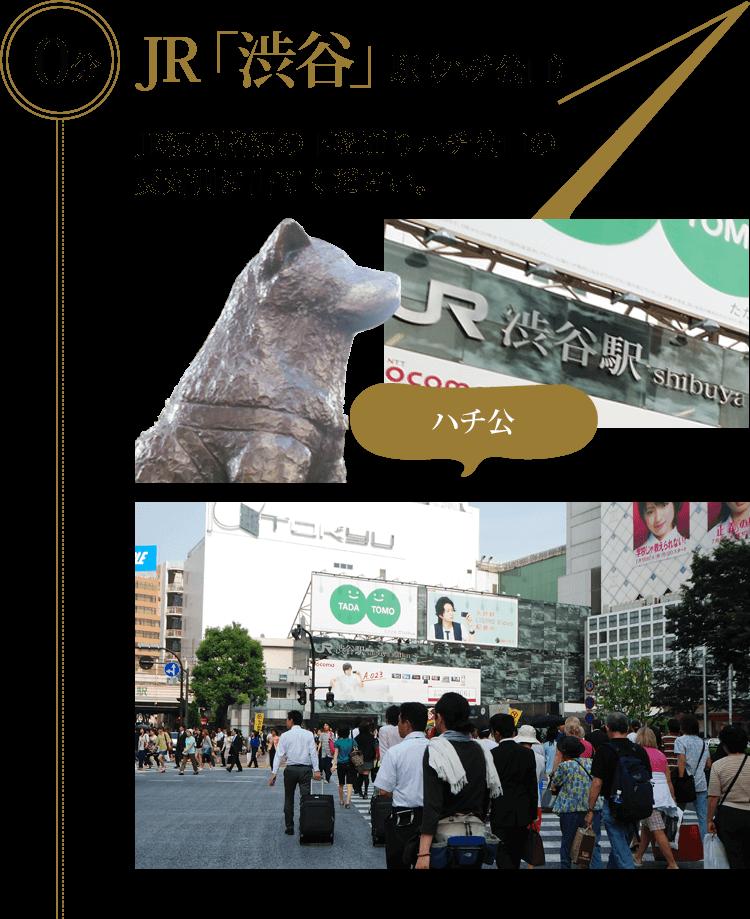 JR「渋谷」駅(ハチ公口)の場合、JR路線の下を通りハチ公口の反対側に出てください